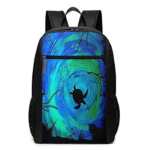 TRFashion Sac à Dos Sea Turtle Glow in The Dark 17 inch Outdoor Backpack Travel Hiking& Camping Pack Schoolbag Book Bag for Men Women Black