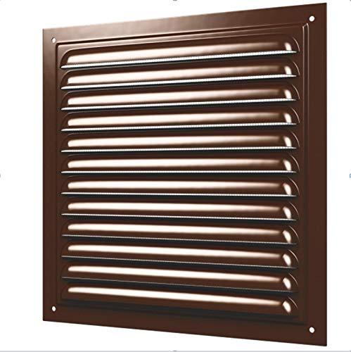 Rejilla de ventilación metálica con protección contra insectos, rejilla de ventilación, ventilación (250 x 250 mm, color marrón)