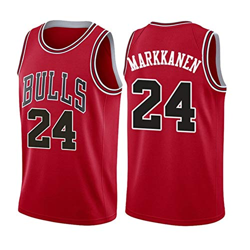 DIWEI Herren Basketball Trikot, Chicago Bulls 24# Lauri Markkanen Street Retro T-Shirt Sommer Stickerei Tops Junge Swingman Basketball Kostüm Geburtstagsgeschenk (S-XXXL) Gr. L, rot
