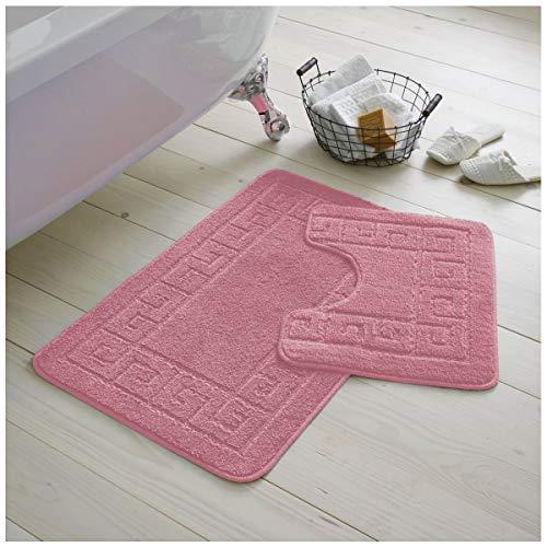 GC GAVENO CAVAILIA Juego de 2 Alfombrillas de baño griegas Antideslizantes de 2 Piezas, Extra absorbentes, 100% Polipropileno, Regular (50 x 80, 50 x 40 cm), Color Rosa
