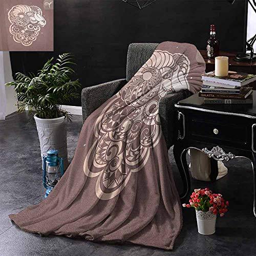 ZSUO Digital Printing Deken Mode Meisje Ram Vrouw met Hoorns Bloemen Jurk Levendig Bloeit Vlinders Microvezel deken bank of reizen