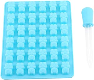 Colorful 36 Holes Chocolate Mold Ice Mold DIY Bear Shape Tray Maker Silicone Mould for Ice Cream Chocolate(Sky Blue+ Dropper)