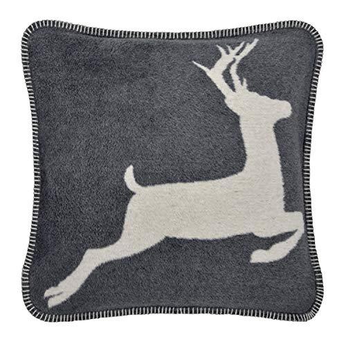 pad - hert - kussens, sierkussen, kussenhoes - 50 x 50 cm - kleur: grijs - knuffelzacht - zonder vulling