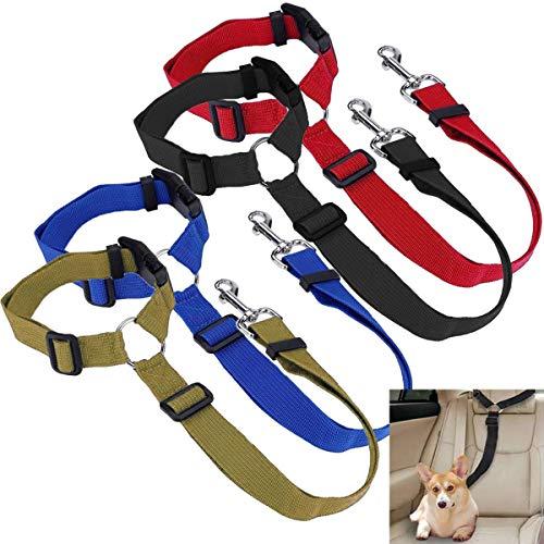 Osuter 4PCS Cinturón de Seguridad Perros Ajustable Robusto Cinturón de Coche Perro Duradero Universal Arnés Coche Perro para Aparece el Viaje de Mascotas 🔥