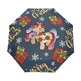 LIUBT - Sombrilla con diseño de unicornio navideño con regalos de copos de nieve, 3 pliegues, cierre automático, parasol para sol, lluvia y rayos UV