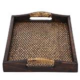 Bandeja decorativa con manija, placa de madera vintage para mesa de café Spa...