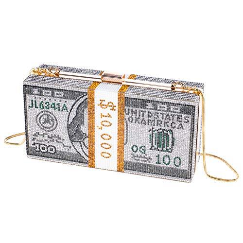 Stack of Cash Dollars - Bolso de mano para mujer, diseño de diamantes de imitación