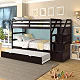 Twin-Over-Twin Bunk Bed for Kids, Wood Twin Bunk Bed with Storage and Trundle (Espresso Bunk)