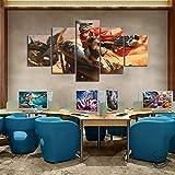 wodclockyui 5 Piezas Cuadro de Lienzo- Miss Luo Fortune League Pintura 5 Impresiones de imágenes Decoración de Pared para el hogar Pinturas y Carteles de Arte HD 200cmx100cm sin Marco