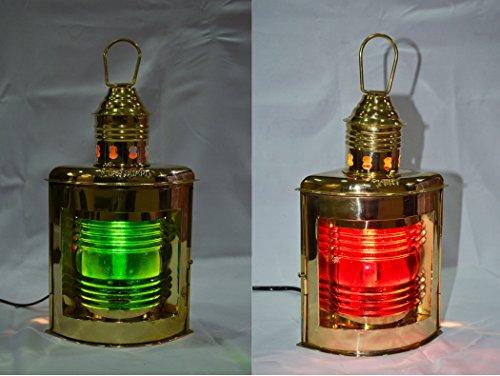 Elektrische Laterne, nautisches Messing, grün/rot, 2 Stück