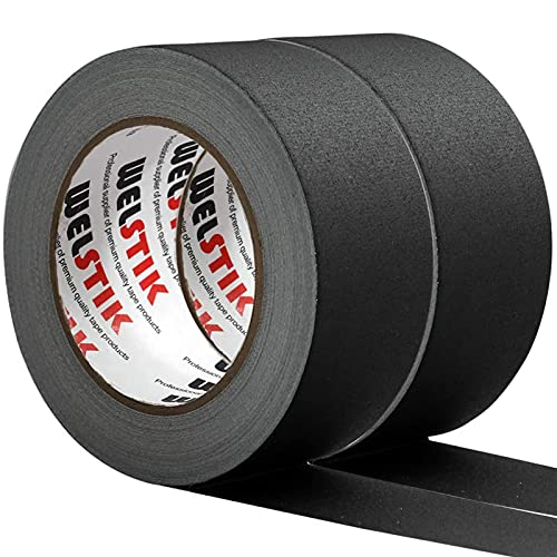 WELSTIK 2 Pack Black Gaffers Tape,2'X 33 Yards-10% Longer-Heavy Duty Gaffers Tape,Waterproof Matte Finish Gaff Tape,Residue Free,Non Reflective,Easy to Tear