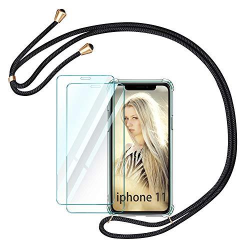 ivencase Handykette Handyhülle +[2 Stück] Panzerglas Schutzfolie für iPhone 11 Hülle mit Kordel zum Umhängen Necklace Hülle mit Band Schutzhülle Transparent Silikon Acryl Case für iPhone 11 6.1 2019