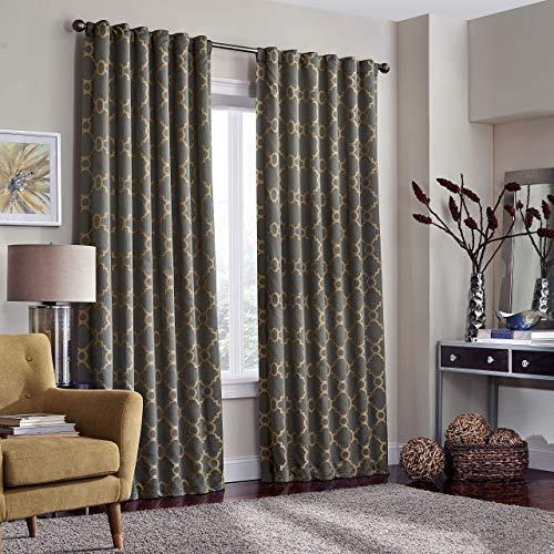 Eclipse Correll Rod Pocket Curtains for Bedroom, Single Panel, 52x108 / 108 Inches, Smoke