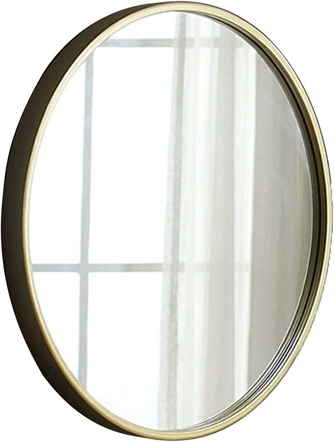 Round Bathroom Mirror Circle Wall-Mounted Makeup Shaving Mirror Metal Frame Drilled Holes 50-80cm Available gold