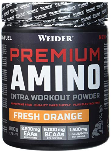 Weider Premium Amino Intra Workout mit EAA/ BCAA, Fresh Orange, Fitness & Bodybuilding, 800g