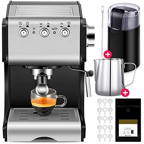 Cafetiere Expresso, Mousseur à Lait pour Cappuccino Pression de 20 bars/1.3 L Amovible Réservoir D'eau/1050 watts/Régler librement la vapeur pour le domicile/bureau - Noir