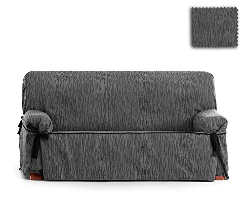 JM Textil Copridivano con Fiocchi Indore, Dimensione 3 Piazze (da 180 a 220cm) Colore Grigio E06 (Vari Colori Disponibili)
