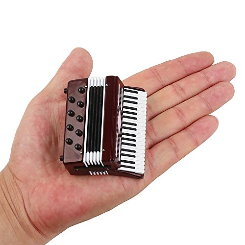 Seawoo Dselvgvu Miniature Accordion with Case Mini Musical Instrument Replica Collectible Miniature Dollhouse Model Home Decoration (Red, 2.76'x2.36'x1.18')