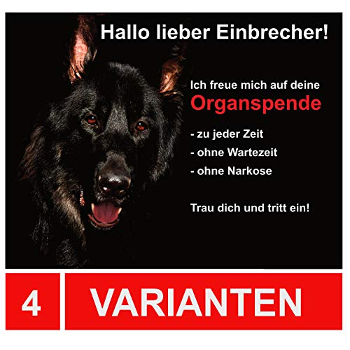 LUGUNO Schild Schäferhund Warnung vor dem Hund Schilder Hundeschild Alu (20x15cm) mit 4 Eckbohrungen
