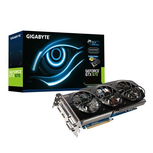 Gigabyte NVIDIA GTX 670 OC Grafikkarte (PCI-e, 4GB GDDR5 Speicher, 2X DVI, HDMI, DisplayPort, 1 GPU)