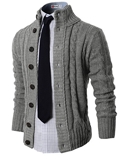 H2H Mens High-neck Twisted Knit Cardigan Sweater with Button Details Grey US L (Asia XL)