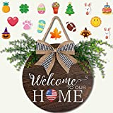OurWarm Seasonal Welcome Sign Front Door Porch Decor, Interchangeable Rustic Wood Wall Hanging Porch Decorations for Housewarming Gifts, New Year, Christmas, Farmhouse Outdoor Home Decor, 11.8' Round