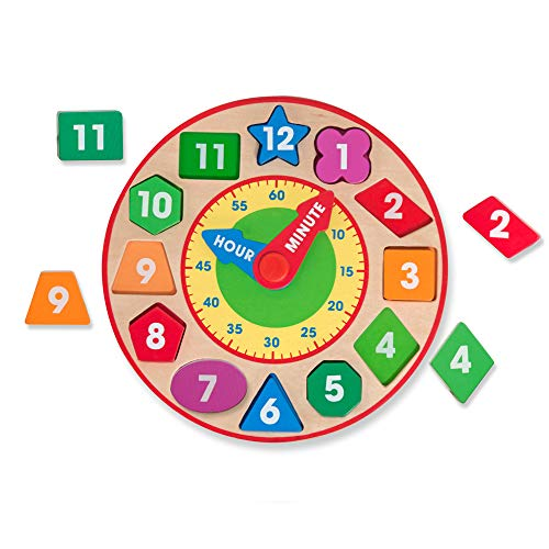 Melissa & Doug Shape Sorting Clock - The Original (Developmental Kids Toy, Sturdy Wooden Construction, Develop Time-Telling Skills, Great Gift for Girls and Boys - Best for 3, 4, 5, and 6 Year Olds)
