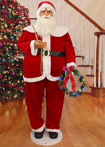 Fraser Hill Farm 58-in. Traditional Dancing Santa with Wreath and Gift Sack, Life-Size Christmas Holiday Indoor Home Decor, FASC058-2RD3