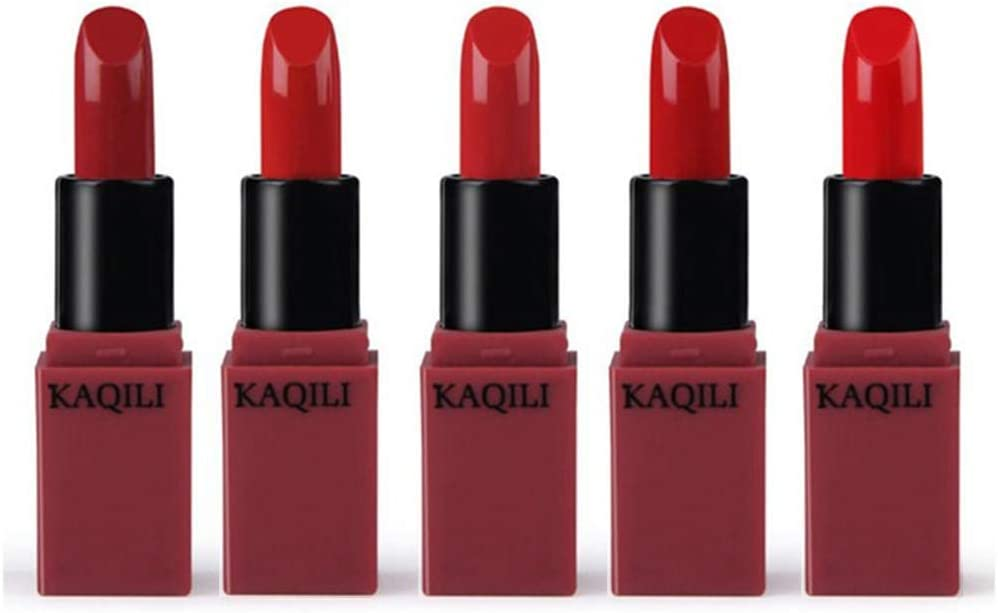5 Colors/Set Mini Vitamin E Lipstick Matte Long Lasting Waterproof Moisturizing Lipgloss Cosmetic Make Up Set (Pumpkin Series)