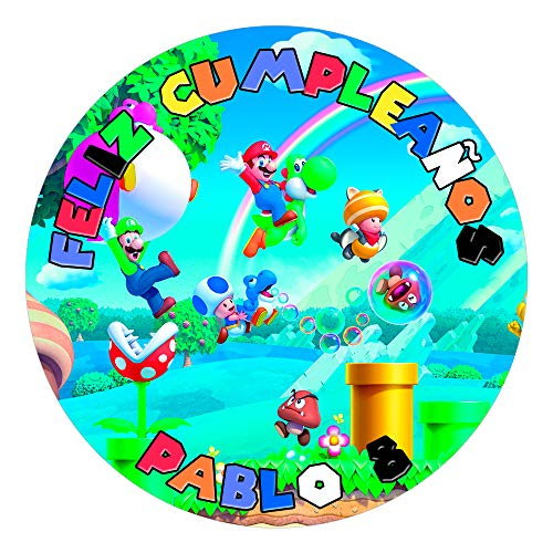 OBLEA de Papel de azúcar Personalizada, 19 cm, diseño de Super Mario