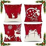 Cojines Sofas Decoracion Fundas 45x45 Navidad y Accesorios Decorativos Para Ikea Originales Navideño Rojo Salon Papá Noel, Alces, Regalos 4 Piezas Linaza