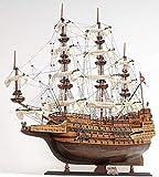 Casa Padrino Buque Insignia Sovereign of The Seas Marrón/Multicolor 88.9 x 29 x H. 94 cm - Hecho a Mano British Deco Barco de Madera