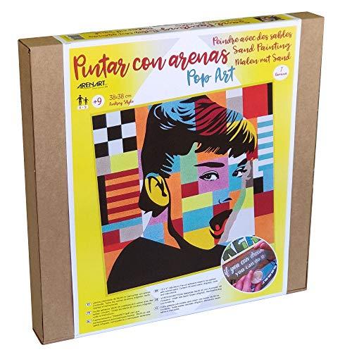 Arenart   1 Lámina Audrey Hepburn Pop Art 38x38cm   para Pintar con Arenas de Colores   Manualidades para Adultos y Jóvenes   Dibujo Fácil   Pintar por números   +9 años