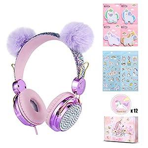 Charlxee POM POM Bear Ear Kids Headphones with Microphone for Girls Children Teens,Over-Ear On Ear Headphones with HD Sound,Wired Headphones with 3.5mm Jack for School,Unicorn Gift Purple