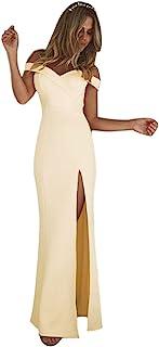 Minetom Damen Elegante V Ausschnitt Schulterfrei Lang Maxi Kleid Einfarbig Split Festlich Hochzeit Abendkleid Cocktailkleid Partykleid