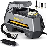 MOICO Portable Air Compressor for Car Tires, DC 12V Air Compressor Tire Inflator, Auto Air Pump for Car Tires, Digital Tire Pump with LED Light for Automobiles Bike Motorbike Basketball Inflatables