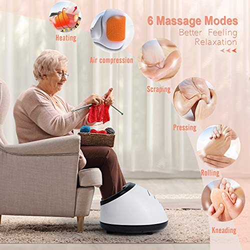 Homedex Foot Massager Machine Shiatsu Foot Massager with Heat, Deep Kneading, Rolling and Air Compression, Foot Circulation Massage Adjustable Intensities with Different Massage Modes for Home