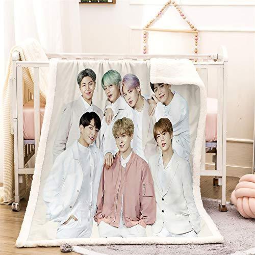 YOMOCO BTS Wohndecke Bangtan Boys Kuscheldecke Fleecedecke extra Weich Warm Sofadecke Couchdecke Flauschige Decke Erwachsene Kinder Mikrofaser for Bettcouch und wolldecke (1,150x200cm)