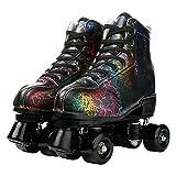 Unisex Roller Skates Double Row Four Wheels High-top Roller Skates Lightning Pattern for Beginners Womens Mens Boys and Girls (Lightning black black wheel,45-US: 11)