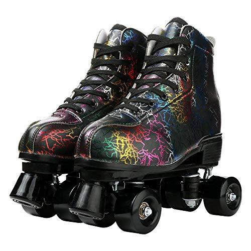 Damen Rollschuhe Mode Mehrfarbig Lightning Rollschuhe Outdoor Indoor PU Leder 4 Rollen Glänzend Rollschuhe für Anfänger Herren Jungen Mädchen (Lightning Black Wheel, 40 - UK 6,5)