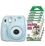 Fujifilm Instax Mini 8 - Cámara instantánea (flash, 1/60 sec) color azul + 5 paquetes de películas fotográficas instantáneas (10 hojas)