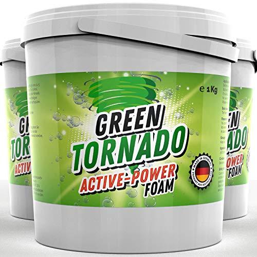 Green Tornado - Active-Power Foam | WC Reiniger mit Aktivsauerstoff - Schaumreiniger, Abflussreiniger und Rohrreiniger - Rohrfrei - Ideal für Badewanne, Waschbecken, Dusche, Küche, Bad, Toilette (3kg)