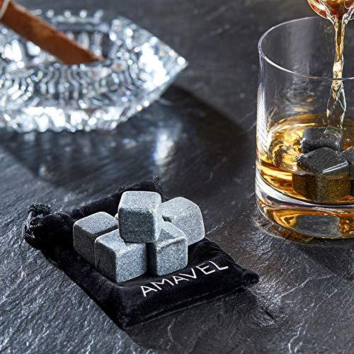 AMAVEL Whiskysteine in edler Holzbox – Standard – 9 geschmacksneutrale Kühlsteine für Whisky inkl. Aufbewahrungsbox – Wiederverwendbare Eiswürfel aus Granit – Originelle Geschenk-Idee für Männer - 5