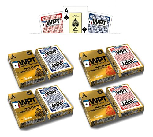 Outletdelocio. Pack 4 barajas Fournier Poker World Tour WPT. 55 cartas. 100% plastico lavable. Calidad Casino. 4-54009