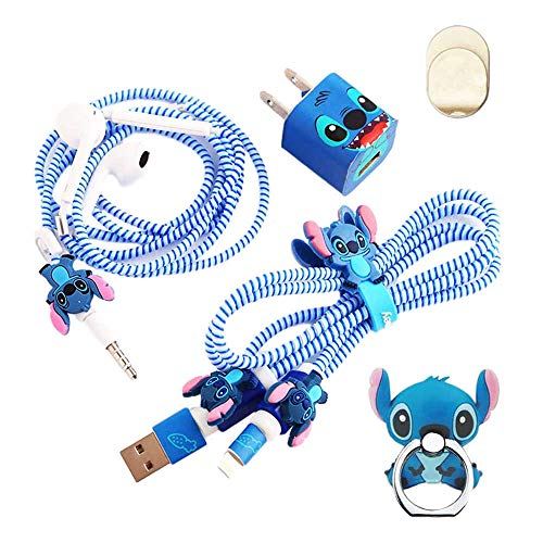 ZOEAST(TM) DIY Protectors ET Blue Baby Apple Data Cable USB Charger Data Line Earphone Wire Saver Protector Compatible with iPhone 5 5S SE 6 6S 7 8 Plus X IPad iPod iWatch (Basic Stitch)