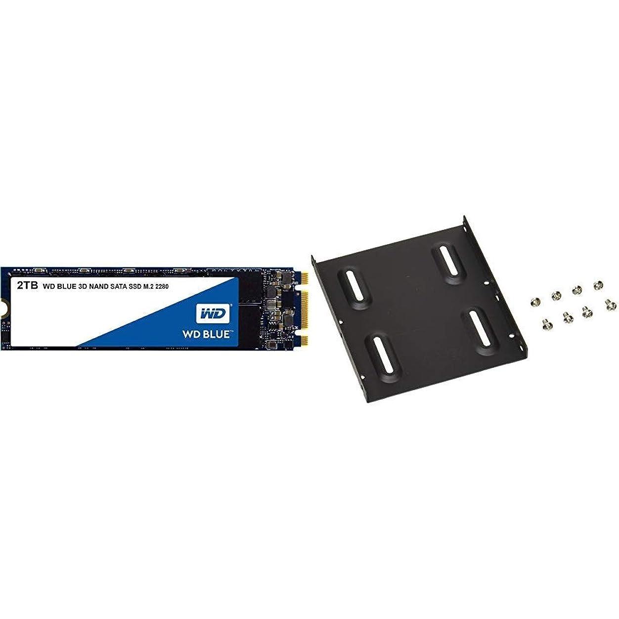衣服描写ぼんやりしたWD 内蔵SSD M.2-2280 / 2TB / WD Blue 3D / SATA3.0 / 5年保証 / WDS200T2B0B & オウルテック 2.5インチHDD/SSD用→3.5インチサイズ変換ブラケット ネジセット付き ブラック OWL-BRKT04(B)