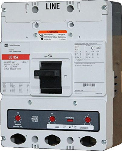 New Eaton Cutler-Hammer HLD3600F (HLD3600) Circuit Breaker 3 Pole 600A 600V 65kA HLD Complete Unit Includes Frame and Trip