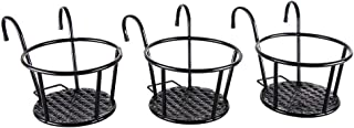 Iron Art Hanging Baskets Flower Pot Holder - HowRU Over The Rail Metal Fence Planters Assemble - Pack of 3 (Black)