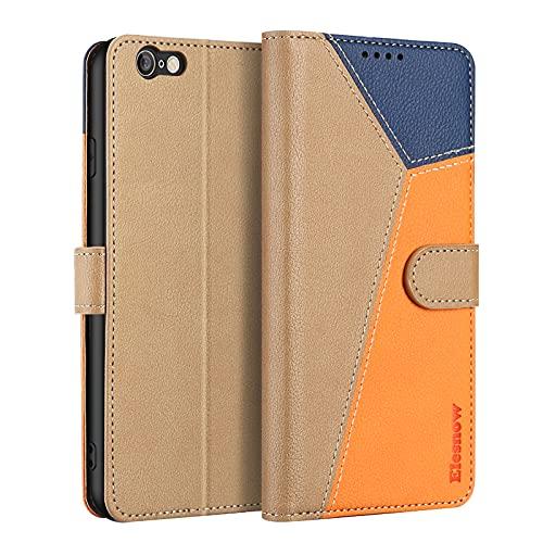 ELESNOW Funda para iPhone 6 Plus / 6s Plus con [Templado Protector de Pantalla] Carcasa Magnética Tarjetero Tapa de Cuero para Apple iPhone 6 Plus / 6s Plus - 5.5' (Caqui/Orange/Azul)