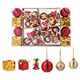 TWBB Christmas Balls Ornaments 26ct Includes Xmas Ball, Box,Christmas Bell for Christmas Tree Xmas Tree Decorations (Red&Gold)